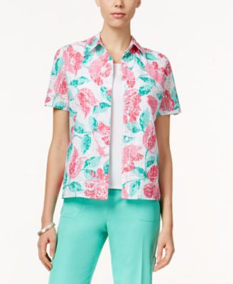 Alfred Dunner Tank-Inset Floral Shirt
