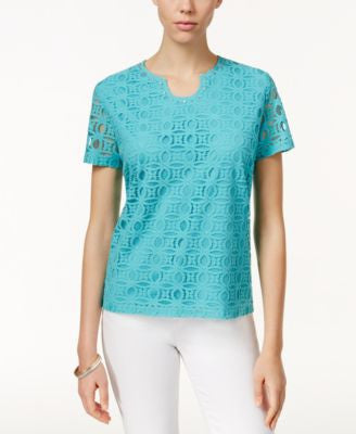 Alfred Dunner Lace-Detail Short-Sleeve Top