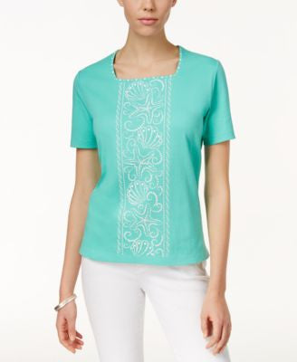 Alfred Dunner Petite Embellished Short-Sleeve Top
