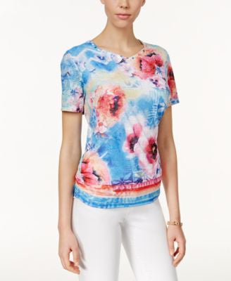 Alfred Dunner Floral-Print Short-Sleeve Top
