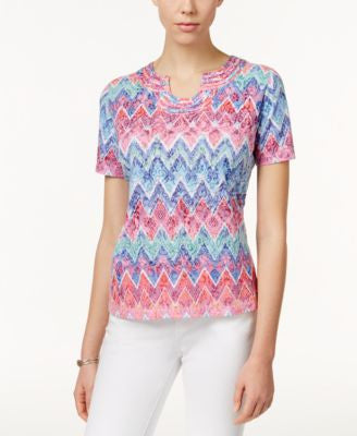 Alfred Dunner Chevron-Print Short-Sleeve Top