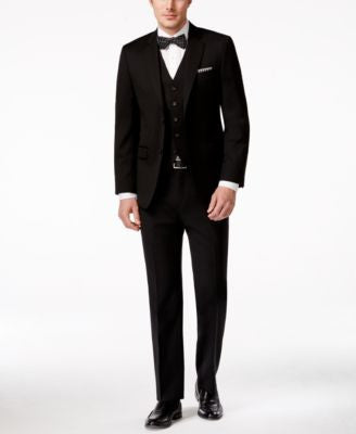 Lauren Ralph Lauren Black Vested Solid Slim-Fit Suit
