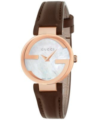 Gucci Women's Swiss Interlocking Brown Leather Strap Watch 29mm YA133516