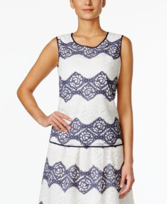 Nine West Floral-Lace Striped Shell