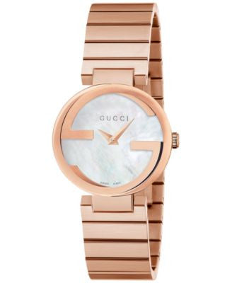 Gucci Women's Swiss Interlocking Pink Gold-Tone PVD Stainless Steel Bracelet Watch 29mm YA133515