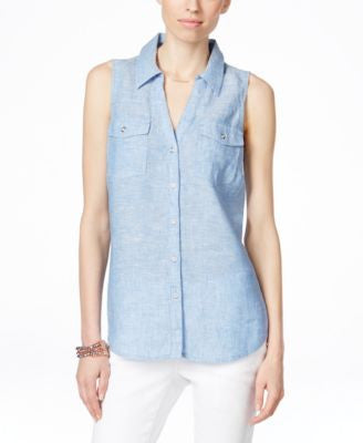INC International Concepts Linen Sleeveless Shirt, Only at Vogily