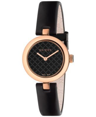 Gucci Women's Swiss Dimantissima Black Leather Strap Watch 27mm YA141501