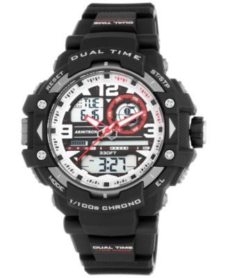 Armitron Men's Analog-Digital Chronograph Black Resin Bracelet Watch 53mm 20-5062RED