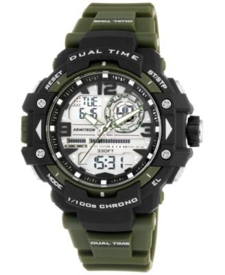 Armitron Men's Analog-Digital Chronograph Green Resin Bracelet Watch 53mm 20-5062GRN