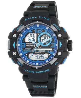 Armitron Men's Analog-Digital Chronograph Black Resin Bracelet Watch 50mm 20-5062BLU