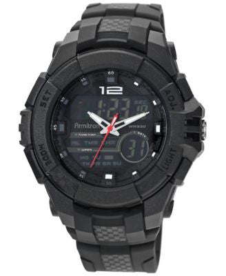 Armitron Men's Analog-Digital Chronograph Black Resin Bracelet Watch 53mm 20-4942BLK