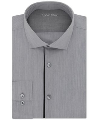 Calvin Klein Men's X Extra Slim-Fit Stretch Smokey Grey Solid Dress Shirt