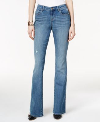 Style & Co. Ripped Sea Glass Wash Curvy-Fit Flared Jeans, Only at Vogily