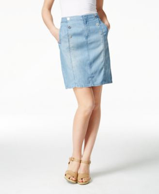 Nanette by Nanette Lepore Ahoy Sailor Atlantic Wash Denim Skirt