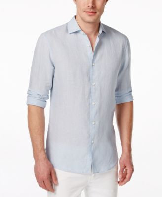 Michael Kors Men's Tailored Linen Long-Sleeve Shirt