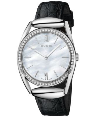 Gucci Women's Swiss Horsebit Diamond (1/2 ct. t.w.) Black Leather Strap Watch 30mm YA140406