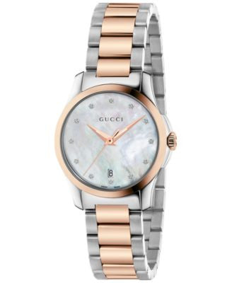 Gucci Women's Swiss G-Timeless Diamond Accent Two-Tone PVD Stainless Steel Bracelet Watch 27mm YA126