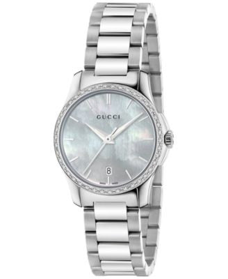 Gucci Women's Swiss G-Timeless Diamond (1/4 ct. t.w.) Stainless Steel Bracelet Watch 27mm YA126543