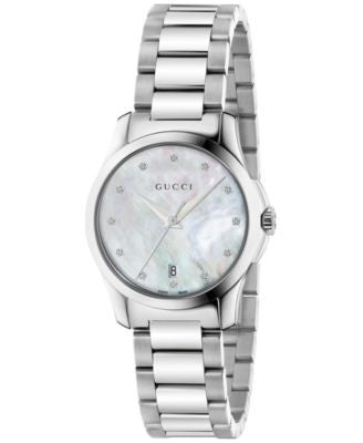 Gucci Women's Swiss G-Timeless Diamond Accent Stainless Steel Bracelet Watch 27mm YA126542