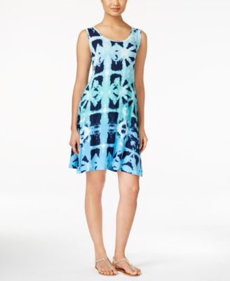 Style & Co. Petite Printed Sleeveless Swing Dress, Only at Vogily