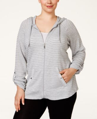 Style & Co. Sport Plus Size Roll-Tab Knit Hoodie, Only at Vogily