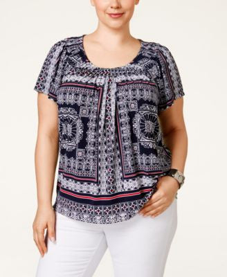 Style & Co. Plus Size Pleated Scarf-Print Top, Only at Vogily