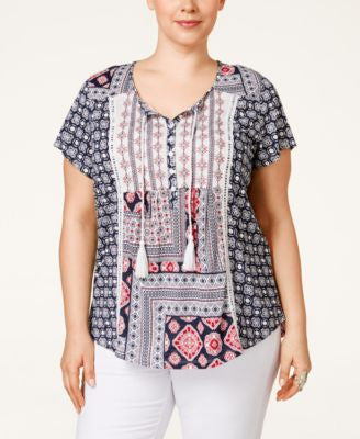 Style & Co. Embroidered Printed Peasant Top, Only at Vogily