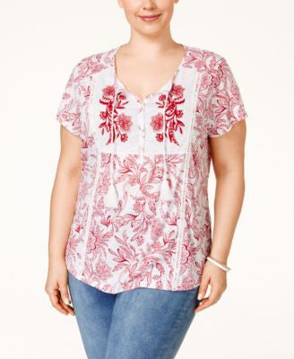 Style & Co. Plus Size Embroidered Printed Peasant Top, Only at Vogily