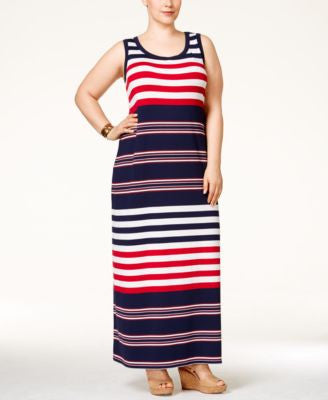 Style & Co. Plus Size Striped Maxi Dress, Only at Vogily