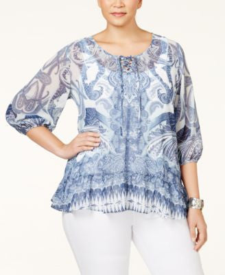 Style & Co. Plus Size Printed Layered-Look Top, Only at Vogily