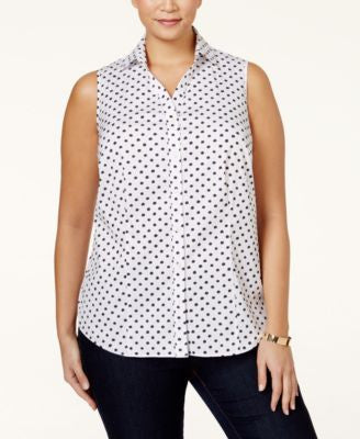 Charter Club Plus Size Star Printed Sleeveless Shirt, Only at Vogily