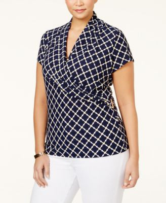 Charter Club Plus Size Printed Crossover Wrap Top, Only at Vogily