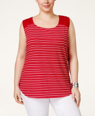 Style & Co. Plus Size Crochet-Trim Striped Tank Top, Only at Vogily