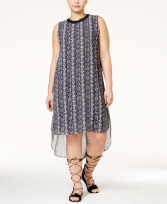 RACHEL Rachel Roy Curvy Plus Size Snakeskin-Print High-Low Dress