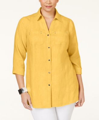 JM Collection Plus Size Button Down Linen Shirt, Only at Vogily