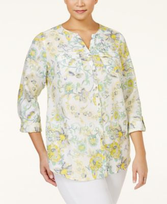 JM Collection Plus Size Linen Printed Blouse, Only at Vogily