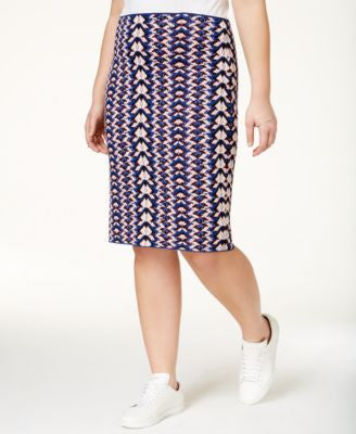 RACHEL Rachel Roy Curvy Plus Size Geometric-Print Pencil Skirt