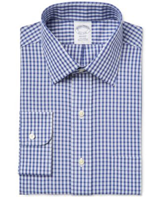 Brooks Brothers Men's Regent Classic-Fit Non-Iron Blue Checked Dress Shirt
