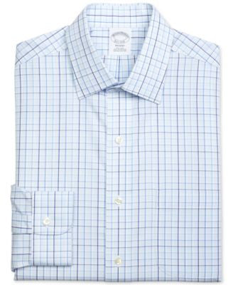 Brooks Brothers Men's Regent Classic-Fit Non-Iron Blue Plaid Dress Shirt