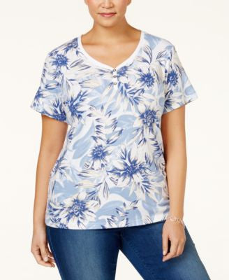 Karen Scott Plus Size Floral Printed Henley Top, Only at Vogily