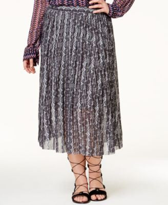 RACHEL Rachel Roy Curvy Trendy Plus Size Pleated Snakeskin-Print Skirt