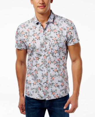 Hugo Boss Orange Men's Floral-Print Short-Sleeve Shirt