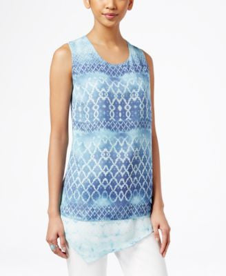 Style & Co. Printed Asymmetrical-Hem Top, Only at Vogily