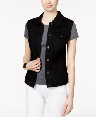 Style & Co. Denim Black Wash Vest, Only at Vogily