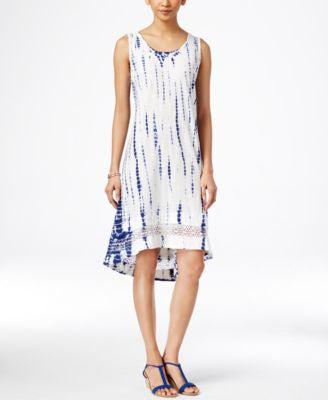 Style & Co. Tie-Dyed Crochet-Hem Dress, Only at Vogily