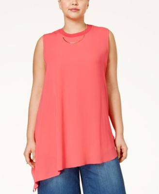 RACHEL Rachel Roy Curvy Plus Size Asymmetrical Sleeveless Top