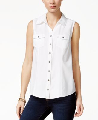 Style & Co. Sleeveless Denim Shirt, Only at Vogily