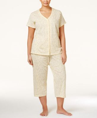 Charter Club Plus Size Button Front Top Pajama Set, Only at Vogily
