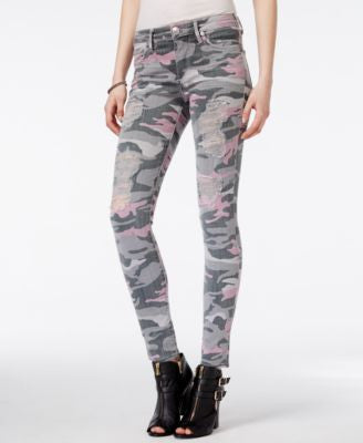 True Religion Halle Ripped Camo Wash Super-Skinny Jeans