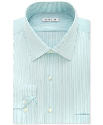Van Heusen Men's Classic-Fit Non-Iron Striped Mint Dress Shirt